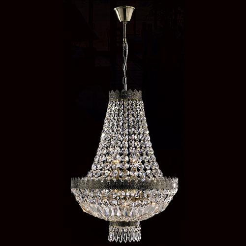 Worldwide Lighting Corp Metropolitan Six-Light Antique Bronze Finish with Clear-Crystals Chandelier