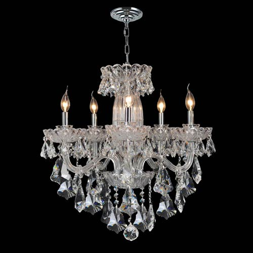Olde World Five-Light Chrome Finish with Clear-Crystals Chandelier