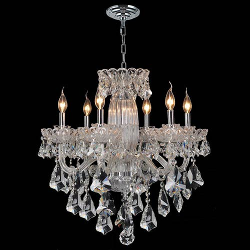 Olde World Six-Light Chrome Finish with Clear-Crystals Chandelier