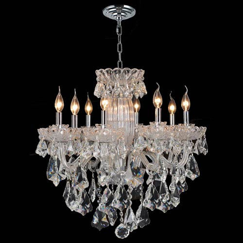 Worldwide Lighting Corp Olde World Eight-Light Chrome Finish with Clear-Crystals Chandelier