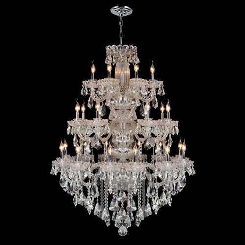 Worldwide Lighting Corp Olde World 23-Light Chrome Finish with Clear-Crystals Chandelier