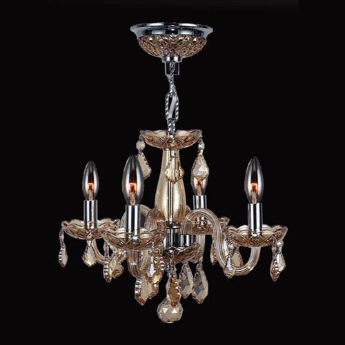 Clarion Four-Light Chrome Finish with Amber Crystal Chandelier