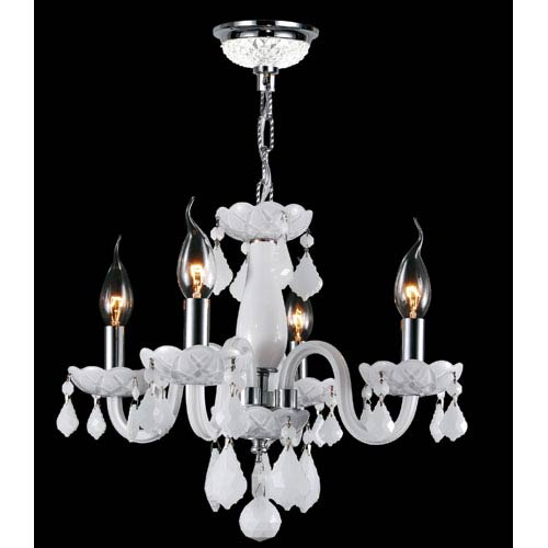 Worldwide Lighting Corp Clarion Four-Light Chrome Finish with White Crystal Chandelier