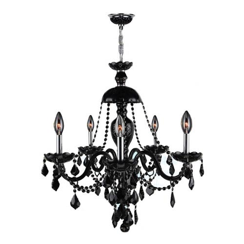 Worldwide Lighting Corp Provence 12-Light Chrome Finish with Black Crystal Chandelier