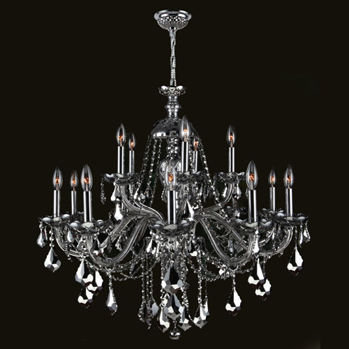 Worldwide Lighting Corp Provence 15-Light Chrome Finish with Chrome Crystal Chandelier