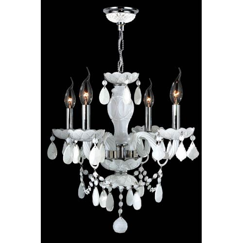 Worldwide Lighting Corp Provence Four-Light Chrome Finish with White Crystal Chandelier
