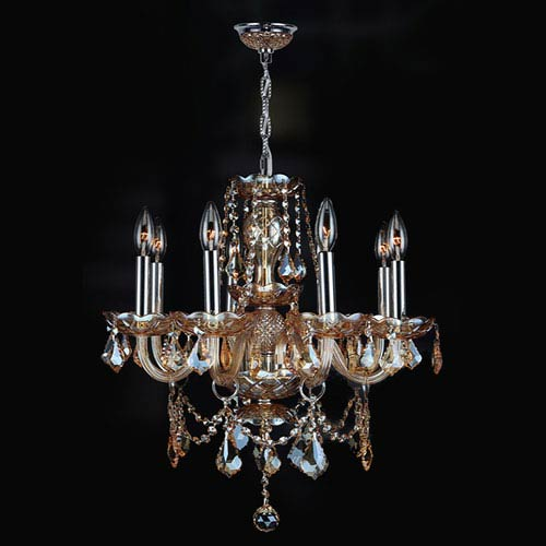 Worldwide Lighting Corp Provence Eight Light Chrome Finish With Amber Crystal Chandelier