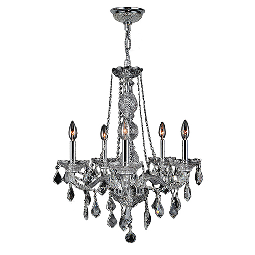 Worldwide Lighting Corp Provence Polished Chrome Five-Light Chandelier