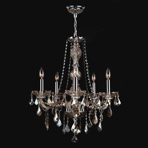 Worldwide Lighting Corp Provence Five Light Chrome Finish With Golden Teak Crystal Chandelier