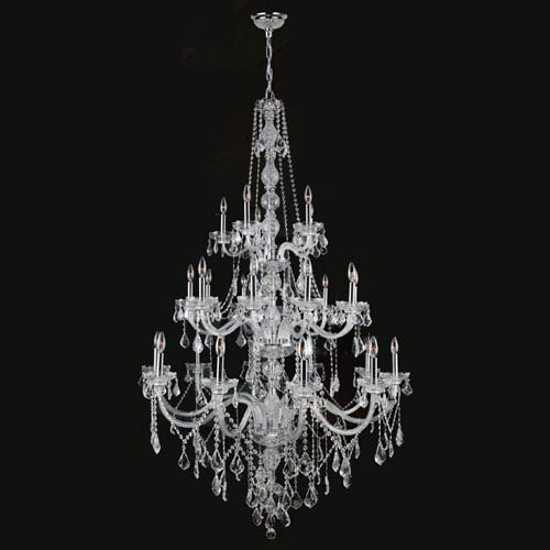 Worldwide Lighting Corp Provence 25-Light Chrome Finish with Clear-Crystals Chandelier