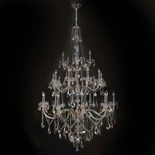 Worldwide Lighting Corp Provence 25-Light Chrome Finish with Golden Teak Crystal Chandelier