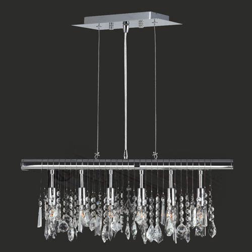 Worldwide Lighting Corp Nadia Six-Light Chrome Finish with Clear-Crystals Pendant