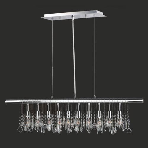 Nadia 10-Light Chrome Finish with Clear-Crystals Pendant
