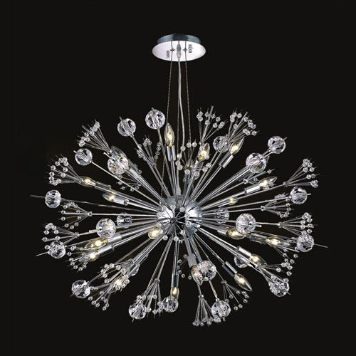 Starburst 20-Light Chrome Finish with Clear-Crystals Chandelier