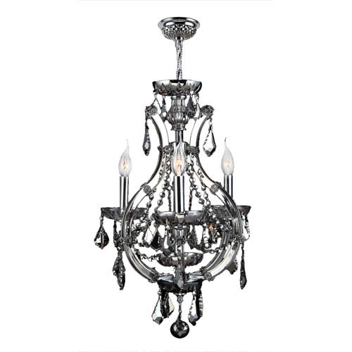 Lyre Polished Chrome Four-Light Mini Chandelier