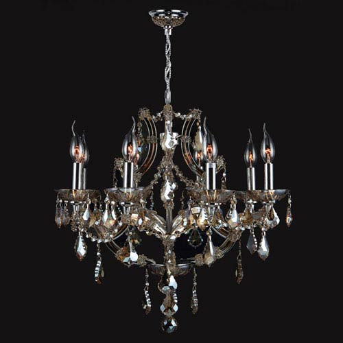 Worldwide Lighting Corp Lyre Eight-Light Chrome Finish with Golden Teak Crystal Chandelier