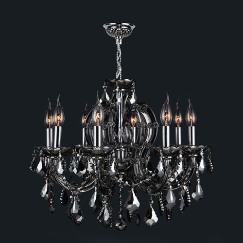 Worldwide Lighting Corp Catherine Eight Light Chrome Finish With Smoke Crystal Chandelier