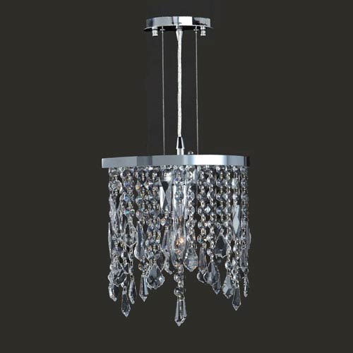 Worldwide Lighting Corp Fiona Chrome Finish With Clear Crystals Mini Pendant
