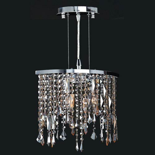 Worldwide Lighting Corp Fiona Two-Light Chrome Finish with Multi-Colored Crystal Pendant
