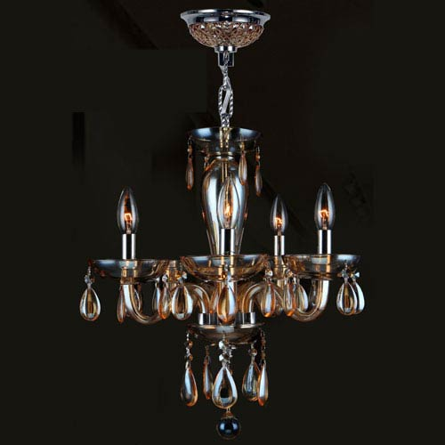Worldwide Lighting Corp Gatsby Five-Light Hand-blown Glass Chrome Finish with Amber Crystal Chandelier