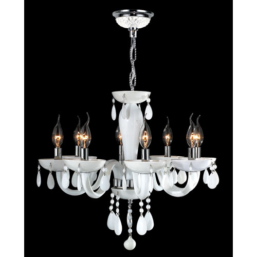 Gatsby Eight-Light Hand-blown Glass Chrome Finish with White Crystal Chandelier