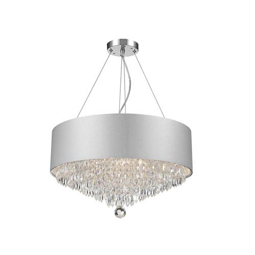 Worldwide Lighting Corp Gatsby Polished Chrome Eight-Light Chandelier with Clear Crystal