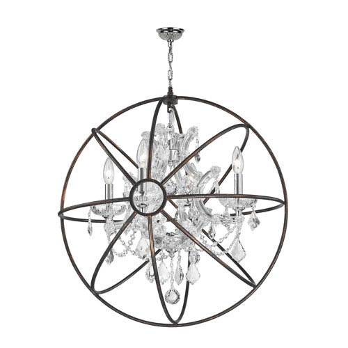 Worldwide Lighting Corp Armillary Polished Chrome Four-Light Chandelier with Clear Crystal