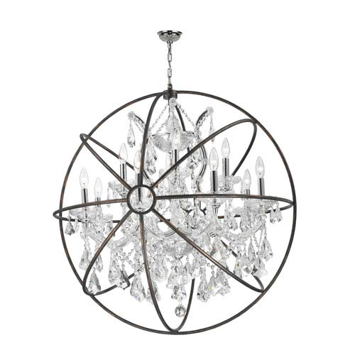Worldwide Lighting Corp Armillary Polished Chrome 13-Light Chandelier with Clear Crystal