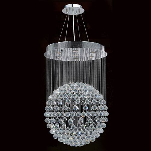 Worldwide Lighting Corp Saturn Seven-Light Chrome Finish with Clear-Crystals Chandelier