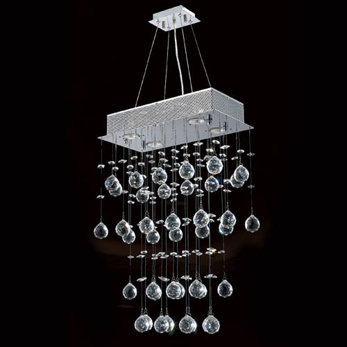 Worldwide Lighting Corp Icicle Seven-Light Chrome Finish with Clear-Crystals Chandelier