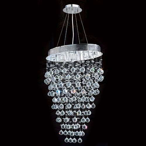 Worldwide Lighting Corp Icicle Eight-Light Chrome Finish with Clear-Crystals Chandelier