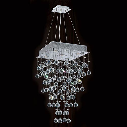 Worldwide Lighting Corp Icicle Five-Light Chrome Finish with Clear-Crystals Chandelier