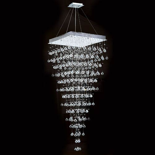 Worldwide Lighting Corp Icicle 10-Light Chrome Finish with Clear-Crystals Chandelier