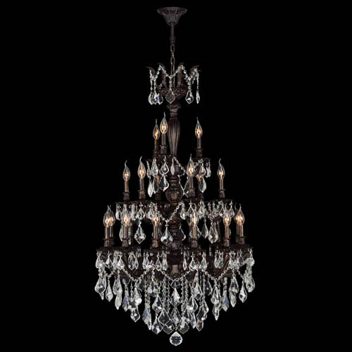 Worldwide Lighting Corp Versailles 21-Light Flemish Brass Finish with Clear-Crystals Chandelier