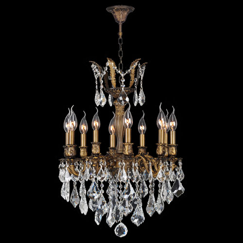Worldwide Lighting Corp Versailles 10-Light Antique Bronze Finish with Clear-Crystals Chandelier