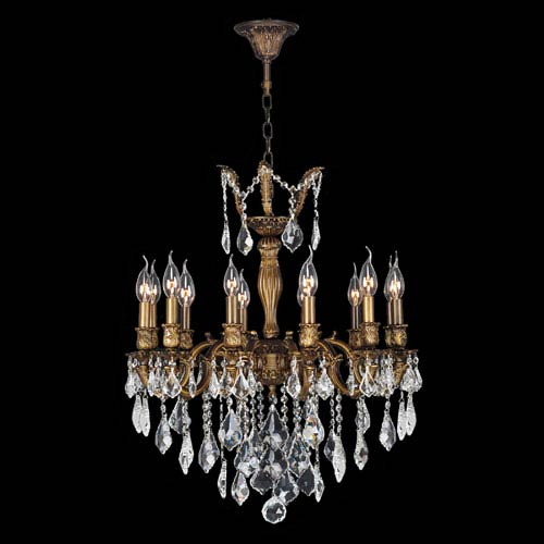 Worldwide Lighting Corp Versailles 12-Light Antique Bronze Finish with  Clear-Crystals Chandelier - Worldwide Lighting Corp Versailles 12 Light Antique Bronze Finish
