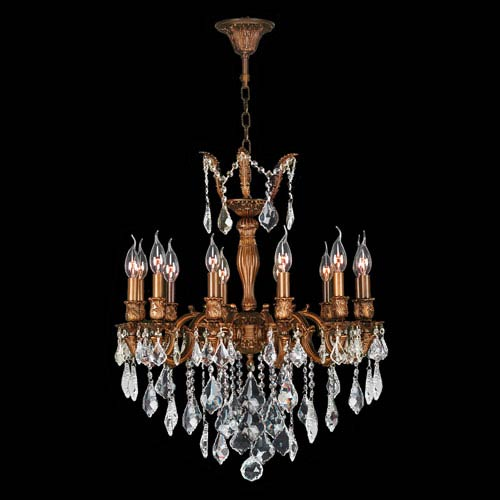 Worldwide Lighting Corp Versailles French Gold Twelve-Light Chandelier