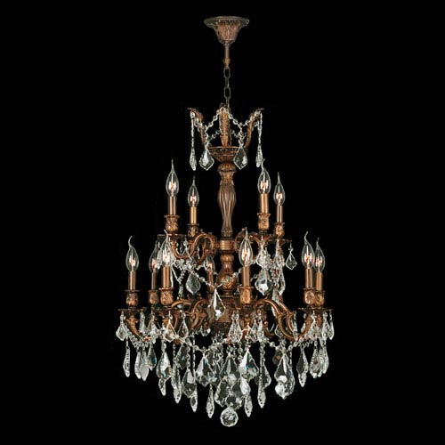 Worldwide Lighting Corp Versailles French Gold Twelve-Light Chandelier