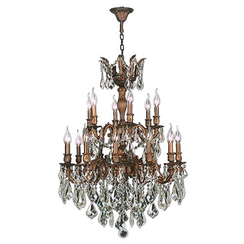 Worldwide Lighting Corp Versailles French Gold 27-Inch Eighteen-Light Chandelier