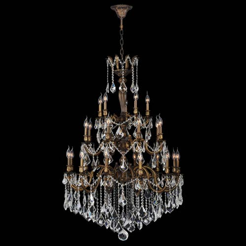 Worldwide Lighting Corp Versailles 25-Light Antique Bronze Finish with Clear-Crystals Chandelier