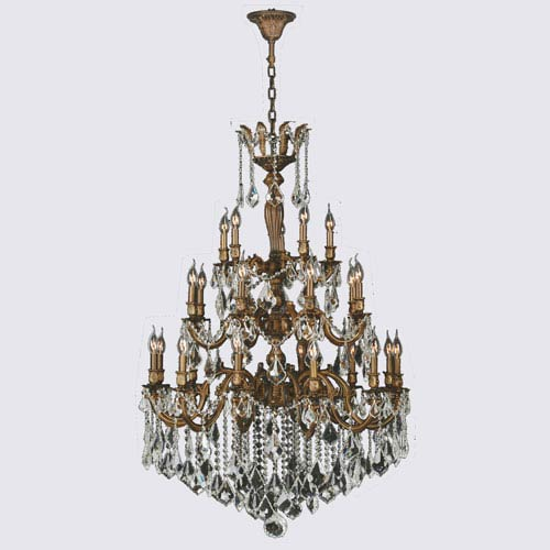 Worldwide Lighting Corp Versailles French Gold Twenty-Five Light Chandelier
