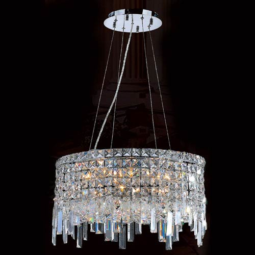 Worldwide Lighting Corp Cascade 12-Light Chrome Finish with Clear-Crystals Chandelier