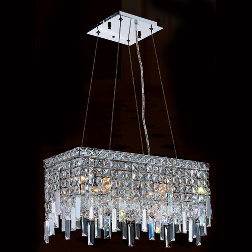 Worldwide Lighting Corp Cascade Four-Light Chrome Finish with Clear-Crystals Chandelier