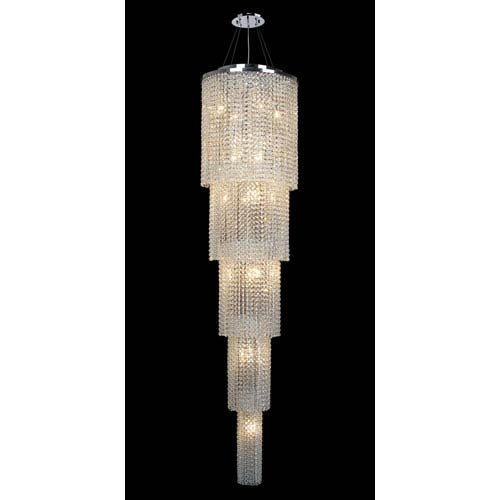 Worldwide Lighting Corp Prism 19-Light Chrome Finish with Clear-Crystals Chandelier 5 Tiers
