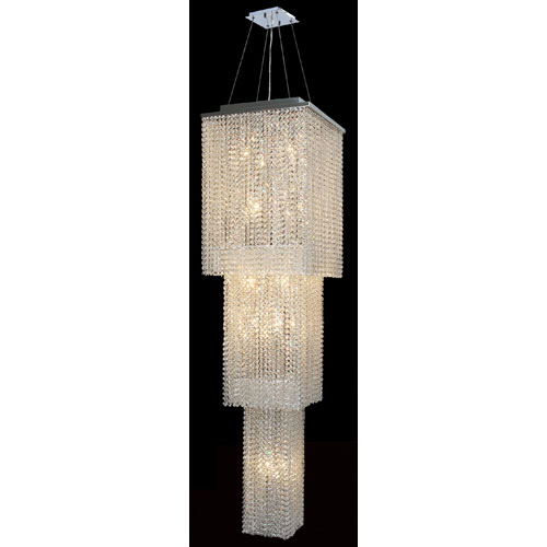 Worldwide Lighting Corp Prism 20-Light Chrome Finish with Clear-Crystals Chandelier 3 Tiers