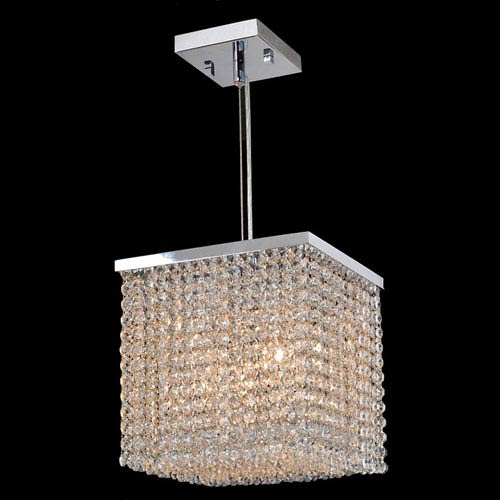 Prism Four-Light Chrome Finish with Clear-Crystals Mini Pendant