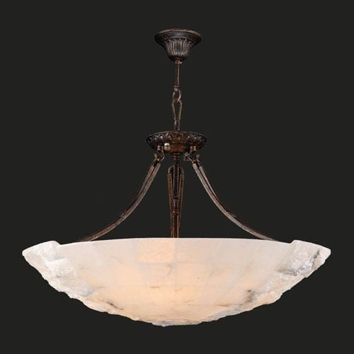 Worldwide Lighting Corp Pompeii Five-Light Flemish Brass Finish Natural Quartz Bowl Pendant