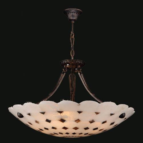 Pompeii Five-Light Flemish Brass Finish Natural Quartz Bowl Pendant