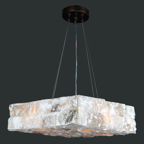 Worldwide Lighting Corp Pompeii Four-Light Flemish Brass Finish Natural Quartz Large Square Pendant
