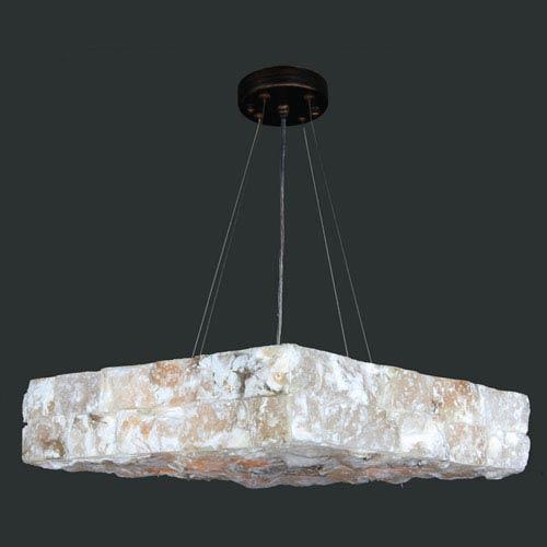 Pompeii Five-Light Flemish Brass Finish Natural Quartz Large Square Pendant